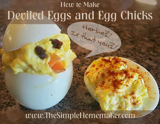 How to Make Deviled Eggs and Stuffed Egg Chicks | The Simple Homemaker