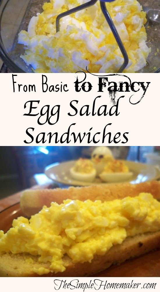 A basic egg salad sandwich recipe with numerous options for add-ins and serving ideas to suit everyone! Check the comments for even more ideas, and add your own!