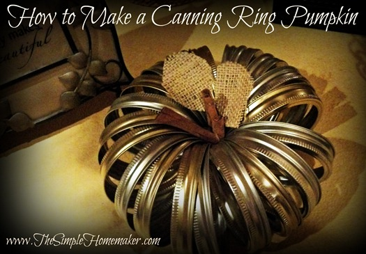 How to Make a Canning Ring Pumpkin via The Simple Homemaker