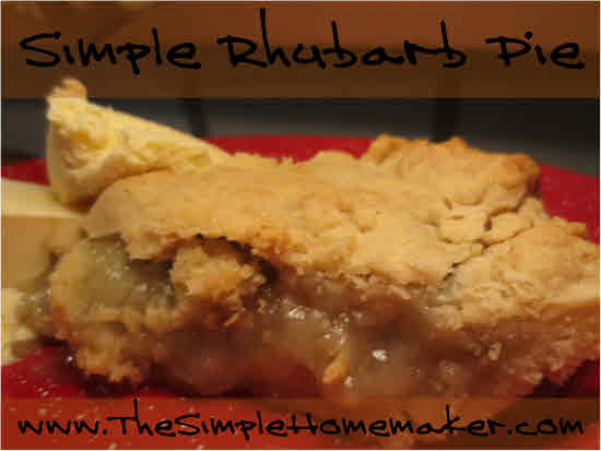 Simple Rhubarb Pie Recipe from TheSimpleHomemaker.com