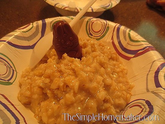 Chocolate Bunny Oatmeal -- Simple Easter fun your kids will LOVE!