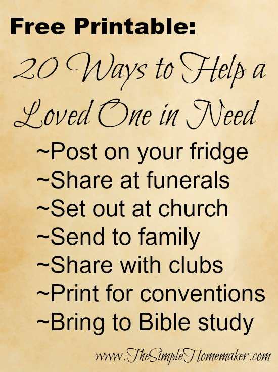 FREE Printable: 20 Ways to Help a Loved One in Need