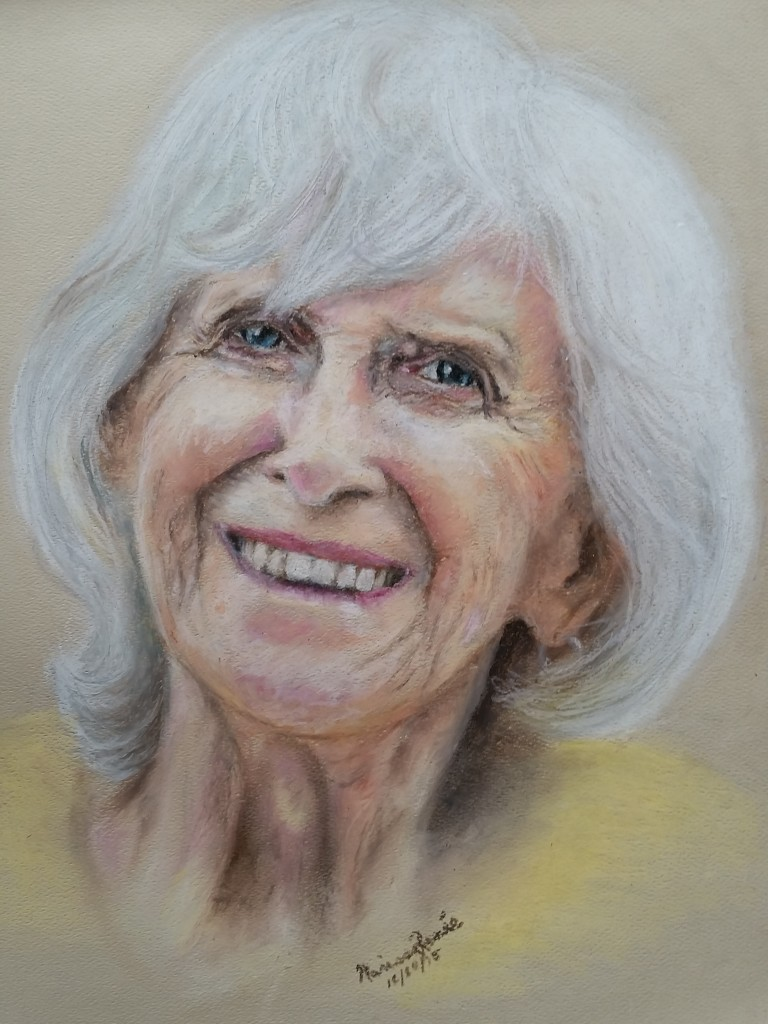 This beautiful artwork refelcts a beautiful soul--my grandmother. It was created by my 17-year-old daughter.